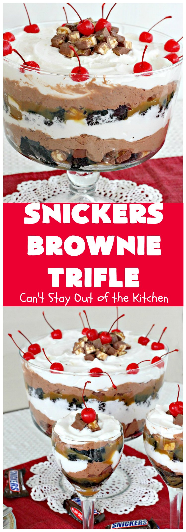 Snickers Brownie Trifle | Can't Stay Out of the Kitchen