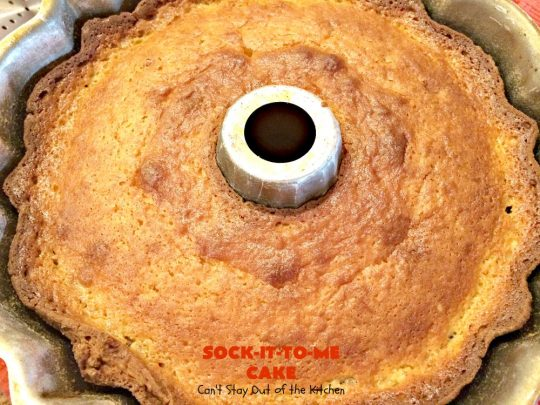 Sock-It-To-Me Cake | Can't Stay Out of the Kitchen | this fantastic #cake will knock your socks off! It has a lovely #pecan streusel filling in the middle & it's glazed with vanilla icing. We serve this as a #coffeecake for #breakfast or for #dessert. #Brunch #Holiday #cinnamon #HolidayBreakfast #SockItToMeCake