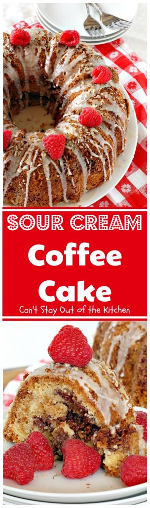 Sour Cream Coffee Cake | Can't Stay Out of the Kitchen | this luscious #coffeecake has a #praline filling to die for! Great for a #holiday #breakfast or #dessert. #cake