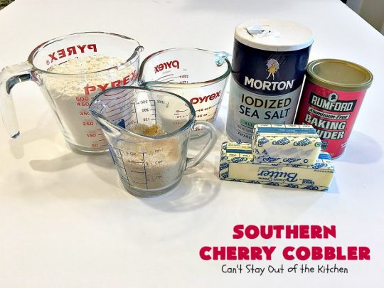 Southern Cherry Cobbler | Can't Stay Out of the Kitchen | This fantastic #cherry #cobbler is the perfect #dessert for company now that fresh #cherries are in season. Terrific for potlucks & backyard BBQs. #cherrycobbler #Canbassador #NorthwestCherryGrowers