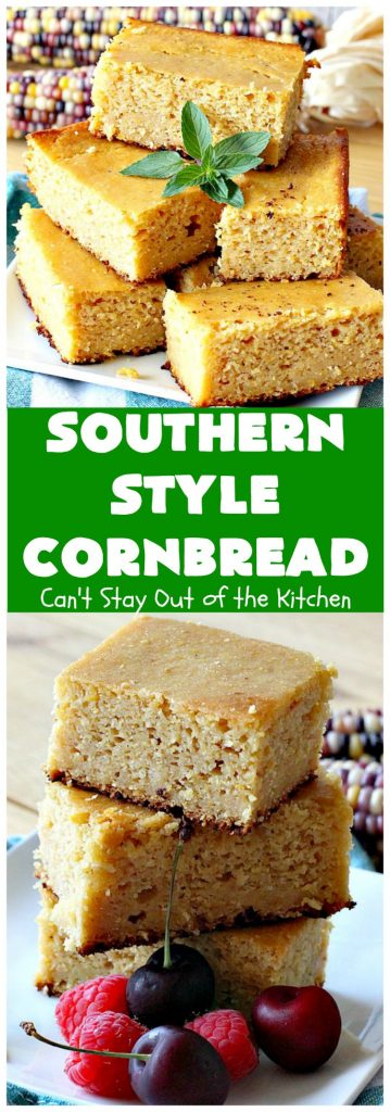 Southern-Style Cornbread | Can't Stay Out of the Kitchen | this is one of the BEST #cornbread #recipes you'll ever eat! It's so mouthwatering & delicious it's like eating #dessert! Every bite will have you coming back for more. #Southern #molasses #SouthernCornbread #SouthernStyleCornbread #cornmeal #MoistCornbread #BestCornbread #Fall #FallBaking