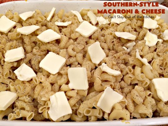Southern-Style Macaroni and Cheese | Can't Stay Out of the Kitchen | I love this fantastic #macaroni & #cheese dish. It uses 3 cheeses & gets its zip from #cajun seasoning. This kid-friendly #casserole is perfect for potlucks or #MeatlessMondays. #macaroniandcheese