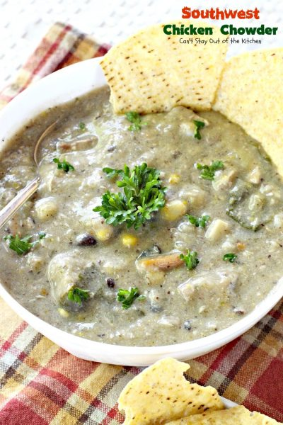 Southwest Chicken Chowder | Can't Stay Out of the Kitchen | this wonderful #Tex-Mex #soup can be pureed or not - your preference. It's delicious either way.  #glutenfree #chicken #blackbeans #corn