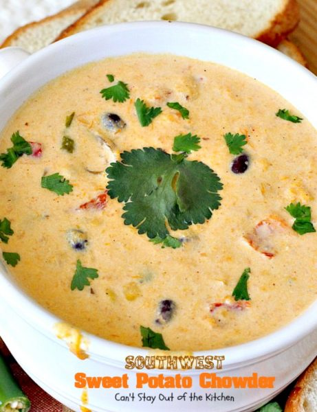 Southwest Sweet Potato Soup | Can't Stay Out of the Kitchen | creamy #soup is healthy & delicious. Filled with #sweetpotatoes #blackbeans #corn & #TexMex seasonings. Amazing comfort food.