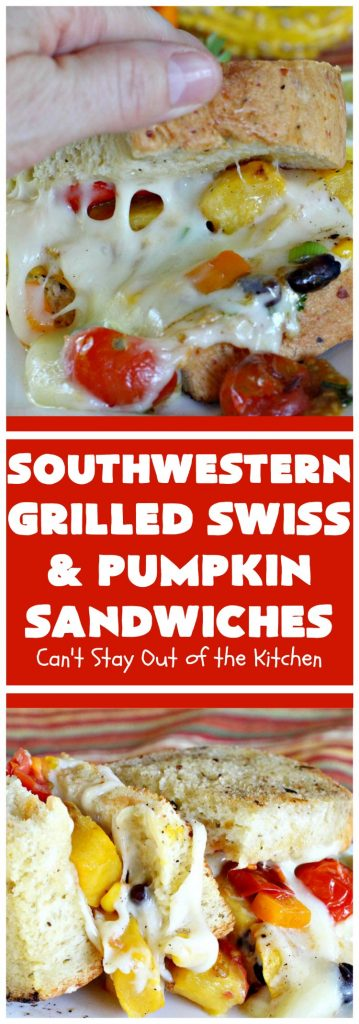 Southwestern Grilled Swiss and Pumpkin Sandwiches | Can't Stay Out of the Kitchen | I loved these fantastic #sandwiches. They have delicious #TexMex flavors with the addition of #SwissCheese & roasted #pumpkin. Every bite will have you drooling. If you can't locate pumpkin, substitute #ButternutSquash with equally great results. #GrilledCheese #SouthwesternGrilledCheeseAndPumpkinSandwiches #BlackBeans #Corn