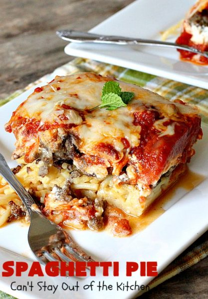 "Spaghetti Pie | Can't Stay Out of the Kitchen | this kid-friendly #pasta #recipe has been a family favorite for years. This version uses a ""crust"" of #spaghetti, eggs, butter & #parmesancheese. It's topped with #groundbeef, then #Ricottacheese, then #mozzarella #cheese. Terrific for company since it makes a lot! You can also make this for #MeatlessMondays by eliminating the ground #beef. #noodles"