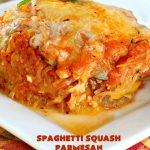 Spaghetti Squash Parmesan   Can't Stay Out of the Kitchen   this is one of the most spectacular ways to serve #SpaghettiSquash ever! It's chocked full of veggies & is layered twice with #parmesan, #mozzarella & #romano cheeses. Terrific for #MeatlessMondays or for #holidays like #Easter or #MothersDay. #Healthy, #LowCalorie #GlutenFree #CleanEating #SpaghettiSquashParmesan #Zucchini #SpaghettiSquashCasserole #YellowSquash #Carrots