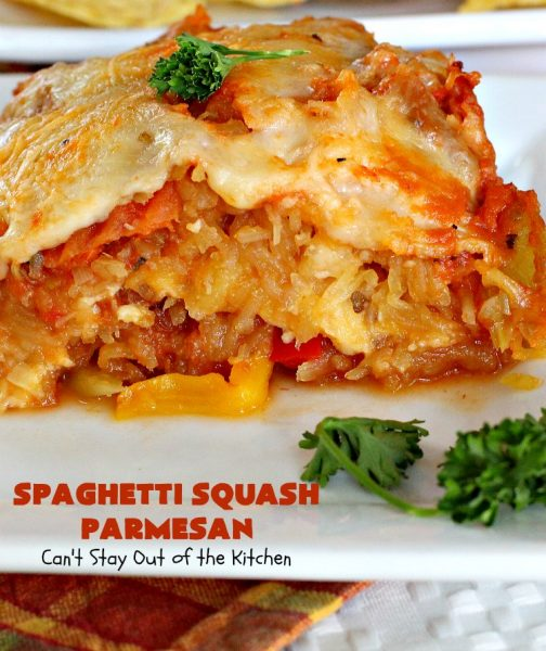 Spaghetti Squash Parmesan | Can't Stay Out of the Kitchen | this is one of the most spectacular ways to serve #SpaghettiSquash ever! It's chocked full of veggies & is layered twice with #parmesan, #mozzarella & #romano cheeses. Terrific for #MeatlessMondays or for #holidays like #Easter or #MothersDay. #Healthy, #LowCalorie #GlutenFree #CleanEating #SpaghettiSquashParmesan #Zucchini #SpaghettiSquashCasserole #YellowSquash #Carrots