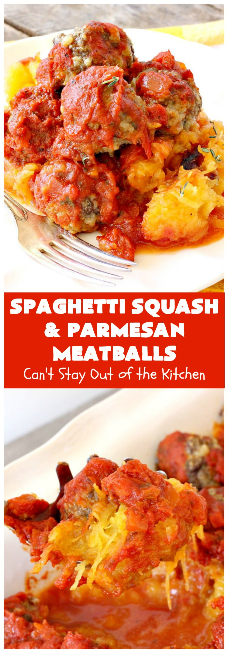 Spaghetti Squash and Parmesan Meatballs | Can't Stay Out of the Kitchen | fantastic #healthy & #LowCalorie #casserole with #SpaghettisSquash instead of pasta. Uses #spaghetti sauce & homemade #GlutenFree #meatballs with #ParmesanCheese. Easy & delicious. #beef #GroundBeef #SpaghettiSquashAndParmesanMeatballs