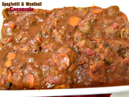 Spaghetti and Meatball Casserole | Can't Stay Out of the Kitchen | traditional #spaghetti and #meatballs but in #casserole form. This amazing entree is made with #glutenfree #pasta.