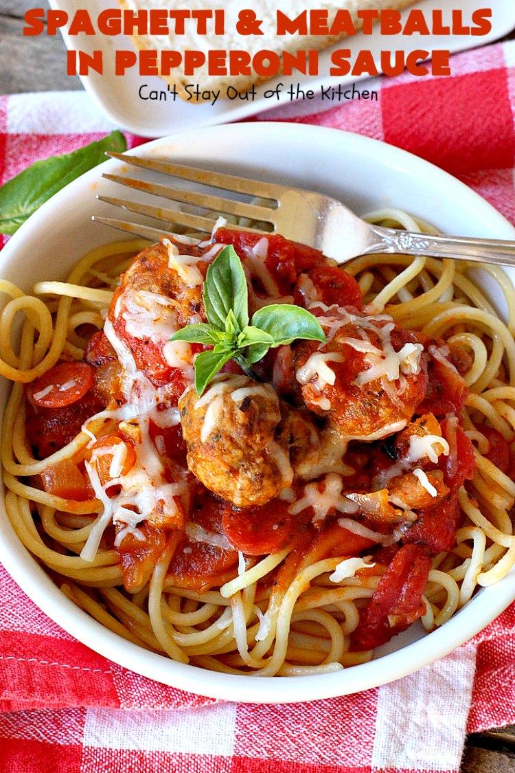 Spaghetti and Meatballs in Pepperoni Sauce