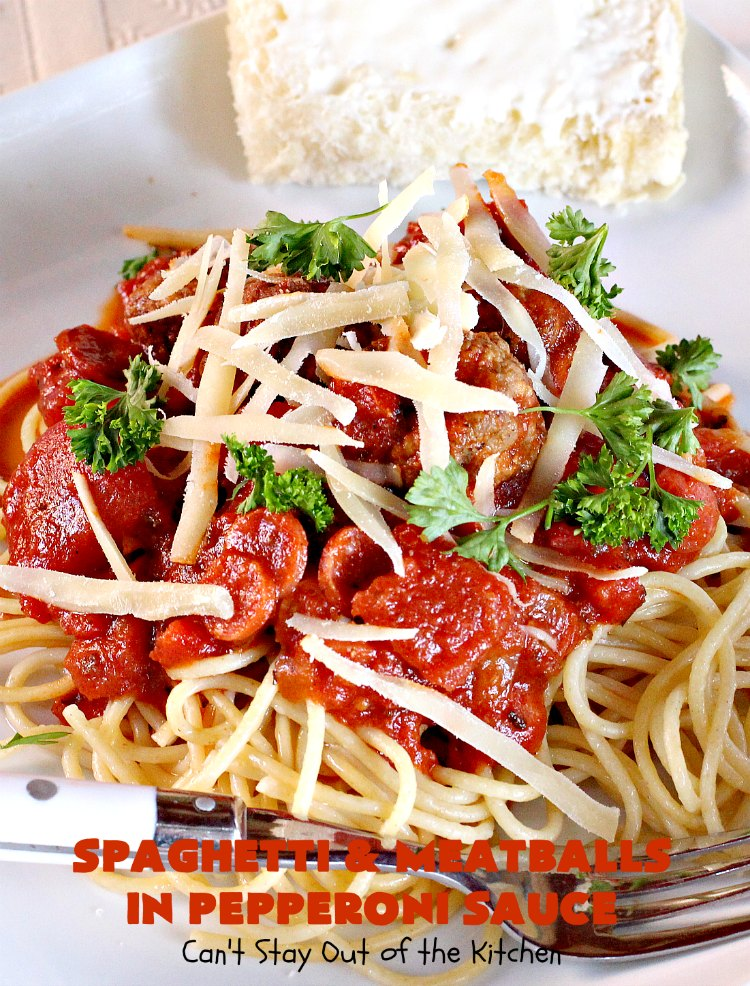 Spaghetti and Meatballs in Pepperoni Sauce