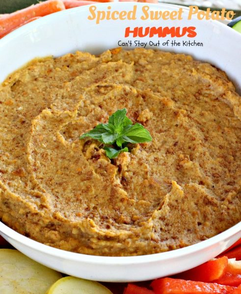Spiced Sweet Potato Hummus | Can't Stay Out of the Kitchen | this fabulous #appetizer spices up #sweetpotatoes & #garbanzobeans and tastes amazing. #glutenfree #vegan