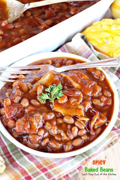 Spicy Baked Beans | Can't Stay Out of the Kitchen | great for summer picnics, these #bakedbeans have cayenne pepper for a little kick! #bacon