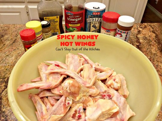 Spicy Honey Hot Wings | Can't Stay Out of the Kitchen | these #chicken #wings are awesome! They're a terrific #appetizer for #tailgating #NewYearsDay or #SuperBowl parties. #gluenfree