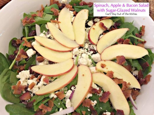 Spinach, Apple and Bacon Salad with Sugar-Glazed Walnuts | Can't Stay Out of the Kitchen | fabulous #salad with #fetacheese #craisins #apples and homemade glazed #walnuts. Also has a homemade #dijon #vinaigrette. #glutenfree