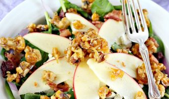 Spinach, Apple and Bacon Salad with Sugar-Glazed Walnuts