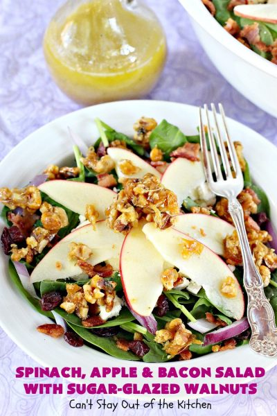 Spinach, Apple and Bacon Salad with Sugar-Glazed Walnuts | Can't Stay Out of the Kitchen | this is one of our favorite #salads. It's filled with #bacon, #apples & #feta cheese. Then homemade glazed #walnuts are added on top. Perfect #salad for company or #holiday dinners like #Easter, #MothersDay or #FathersDay. #spinach #glutenfree