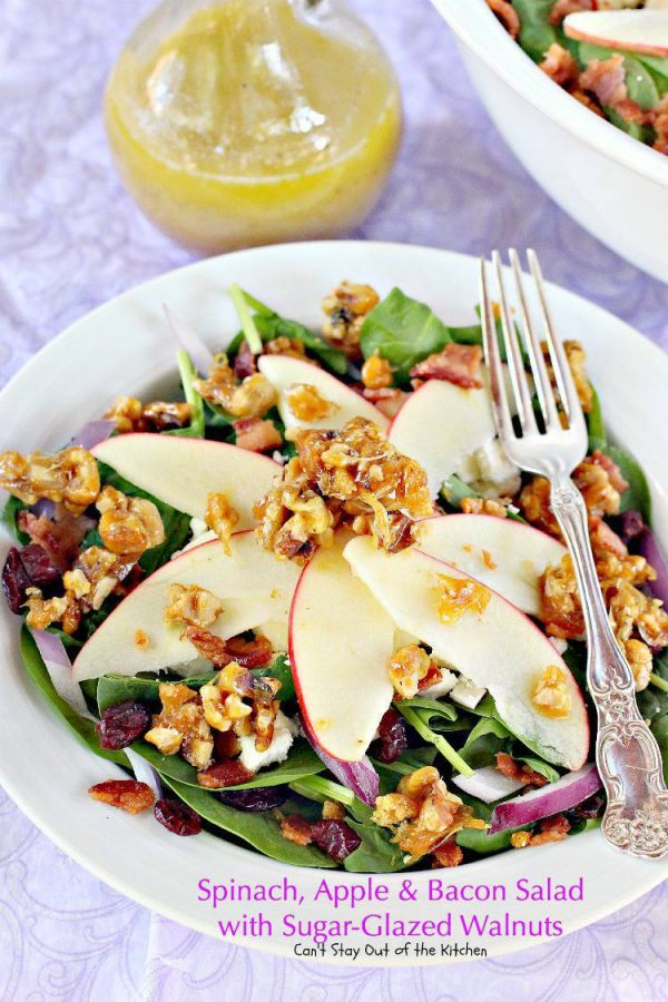 Spinach, Apple and Bacon Salad with Sugar-Glazed Walnuts   Can't Stay Out of the Kitchen   fabulous #salad with #fetacheese #craisins #apples and homemade glazed #walnuts. Also has a homemade #dijon #vinaigrette. #glutenfree