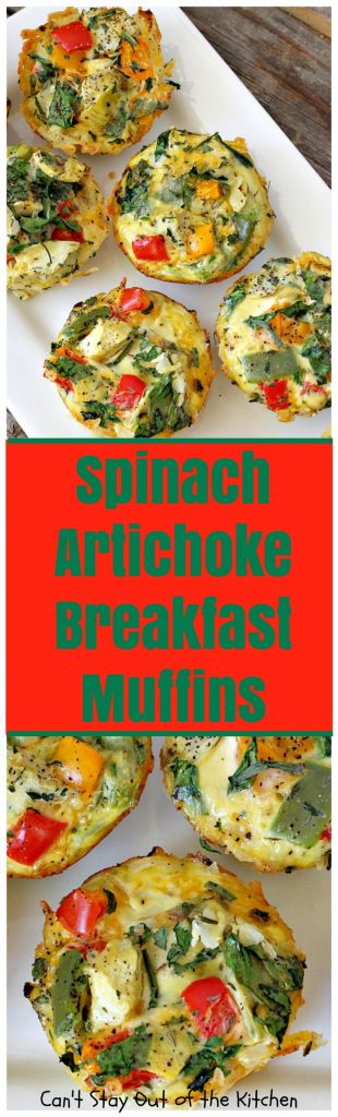 Spinach Artichoke Breakfast Muffins | Can't Stay Out of the Kitchen | these vegetarian #breakfast #muffins are fantastic. Fresh #spinach and #artichokes are combined with eggs and #cheddarcheese in a hash brown #potato crust. Perfect for any #holiday breakfast. #glutenfree