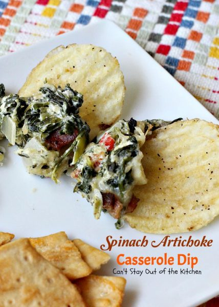 Spinach Artichoke Casserole Dip | Can't Stay Out of the Kitchen | fabulous #Neiman-Marcus #appetizer that's loaded with #cheese #bacon #spinach and #artichokes. Great #tailgating recipe. #glutenfree