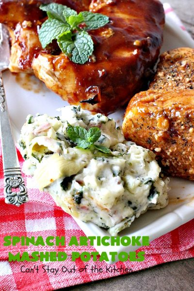 Spinach Artichoke Mashed Potatoes | Can't Stay Out of the Kitchen | this is a dynamic way to eat #mashedpotatoes. This one includes #creamcheese and sour cream along with #spinach, #artichokes & roasted #garlic. It's a terrific #sidedish for any meal but particularly delightful for company & #holidays like #Thanksgiving or #Christmas. #glutenfree