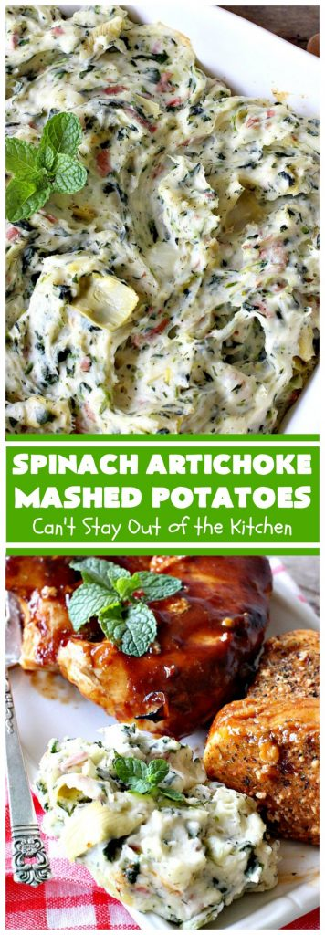 Spinach Artichoke Mashed Potatoes | Can't Stay Out of the Kitchen