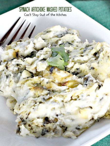 Spinach Artichoke Mashed Potatoes | Can't Stay Out of the Kitchen | we love this amazing #mashedpotatoes dish. This one includes #spinach and #artichokes for superb flavor. #glutenfree #casserole