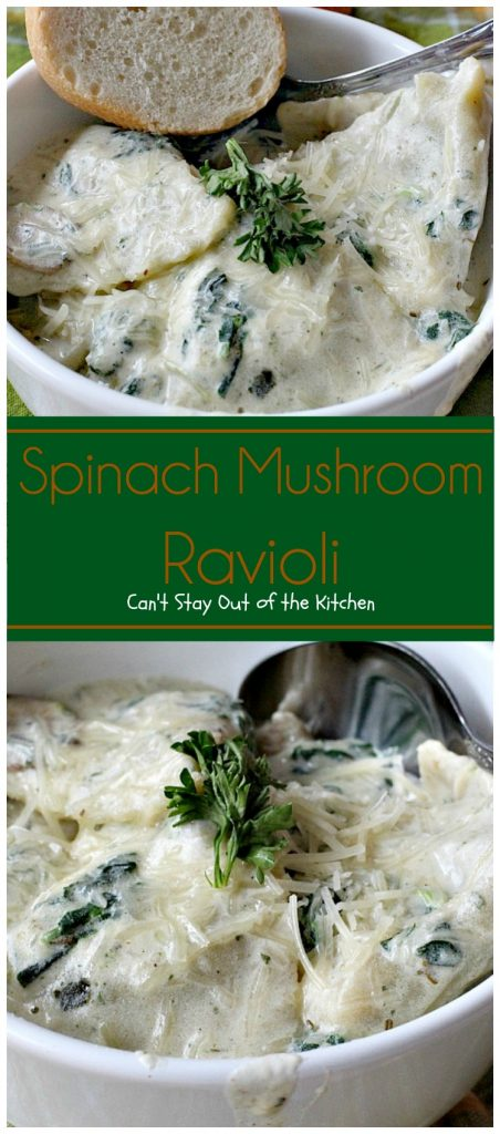 Spinach Mushroom Ravioli | Can't Stay Out of the Kitchen | this scrumptious #ravioli dish is filled with #mushrooms #spinach & #cheese in a delicious #alfredo sauce. Very quick and easy, too. #pasta