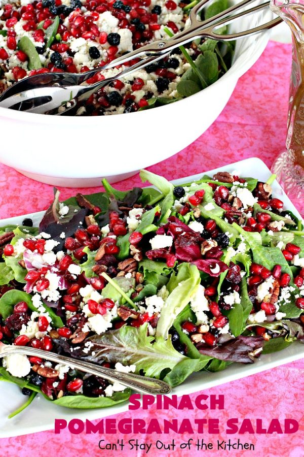Spinach Pomegranate Salad   Can't Stay Out of the Kitchen   this fantastic #salad is filled with dried #blueberries, #craisins, #pecans #pomegranate arils & #feta cheese. It has a healthy 3-ingredient dressing using #maplesyrup. This is perfect for company or #holidays like #MothersDay or #FathersDay. #glutenfree #cleaneating