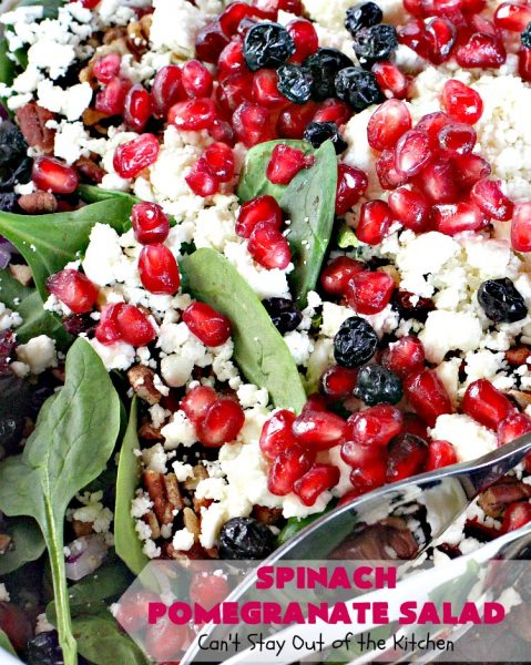 Spinach Pomegranate Salad | Can't Stay Out of the Kitchen | this fantastic #salad is filled with dried #blueberries, #craisins, #pecans #pomegranate arils & #feta cheese. It has a healthy 3-ingredient dressing using #maplesyrup. This is perfect for company or #holidays like #MothersDay or #FathersDay. #glutenfree #cleaneating