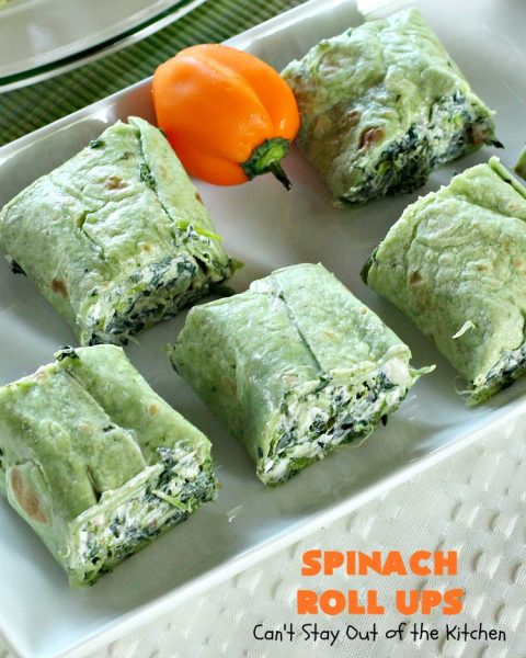 Spinach Roll Ups | Can't Stay Out of the Kitchen | these fantastic #appetizers are one of the best we've ever eaten. They're wonderful for #tailgating, #NewYearsEve or #SuperBowl parties. #spinach #bacon #RanchDressingMix