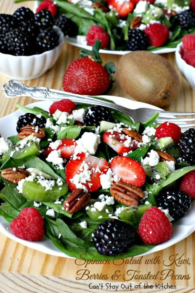 Spinach Salad with Kiwi, Berries and Toasted Pecans | Can't Stay Out of the Kitchen