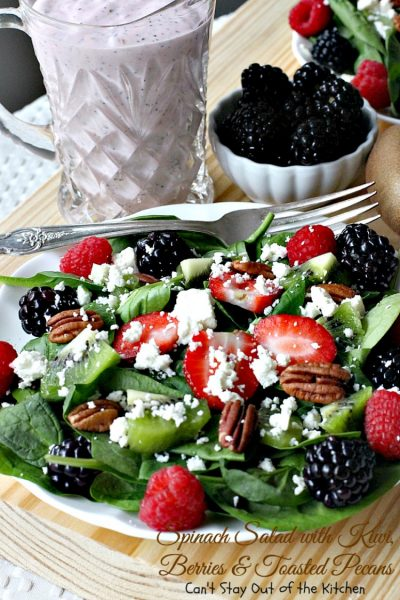 Spinach Salad with Kiwi, Berries and Toasted Pecans | Can't Stay Out of the Kitchen | This festive and scrumptious #salad is a lovely one to make during the #holidays. It's healthy, low calorie, and #glutenfree. #kiwi #blackberries #raspberries