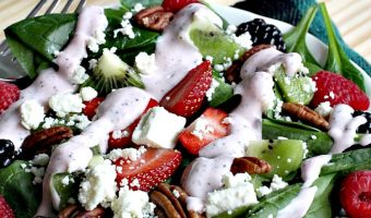 Spinach Salad with Kiwi, Berries and Toasted Pecans