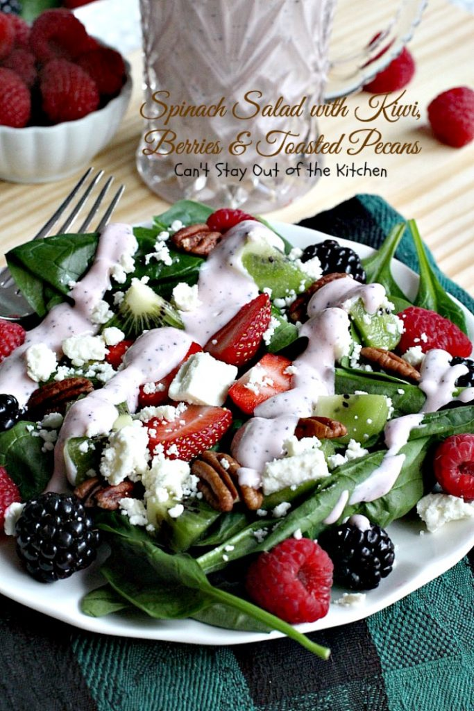 Spinach Salad with Kiwi, Berries & Toasted Pecans | Can't Stay Out of the Kitchen