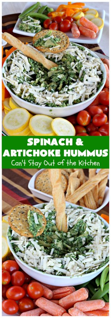 Spinach and Artichoke Hummus | Can't Stay Out of the Kitchen