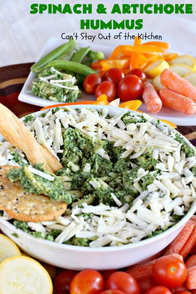 Spinach and Artichoke Hummus | Can't Stay Out of the Kitchen | this crowd-pleasing #appetizer is perfect for #tailgating parties or the #SuperBowl. The combination of #Spinach #Artichoke dip & #hummus is amazing. #SpinachArtichokeHummus #healthy #lowcalorie #Romano #glutenfree #GlutenFreeAppetizer