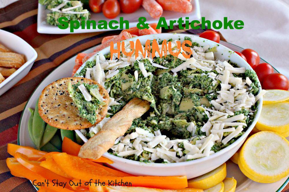The recipe for Spinach and Artichoke Hummus is gluten free. Serve ...