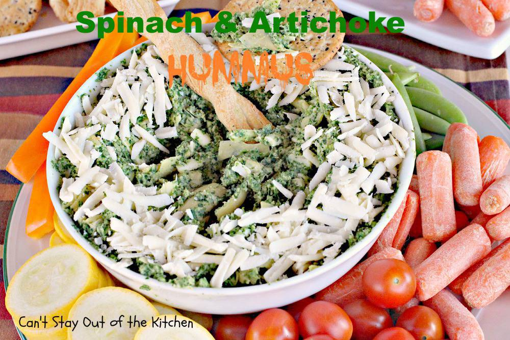 Spinach and Artichoke Hummus - Can't Stay Out of the Kitchen