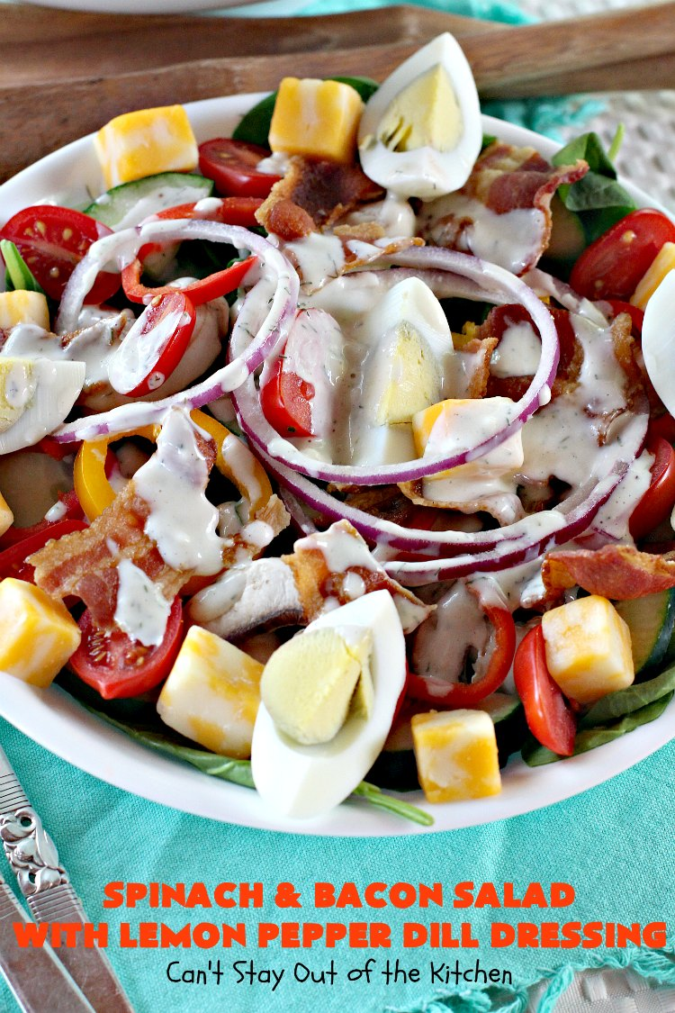 Spinach and Bacon Salad with Lemon Pepper Dill Dressing