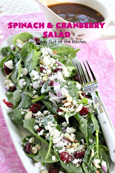 Spinach and Cranberry Salad with Orange Balsamic Vinaigrette | Can't Stay Out of the Kitchen