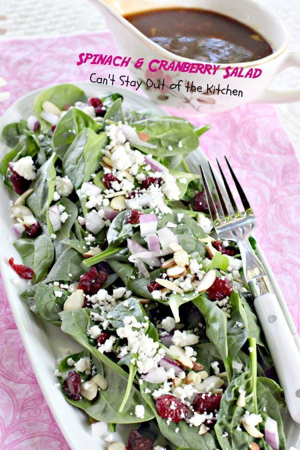 Spinach and Cranberry Salad | Can't Stay Out of the Kitchen | quick and easy #salad with #spinach, #goatcheese, #driedcranberries, #almonds and a tasty #orange #balsamicvinaigrette. #glutenfree
