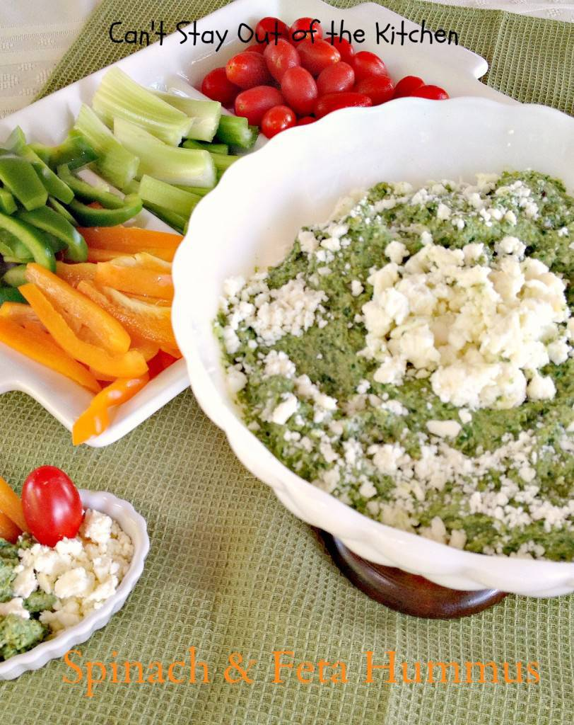 Spinach and Feta Hummus - Can't Stay Out of the Kitchen