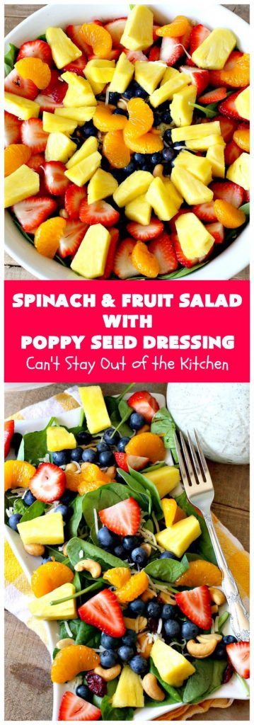 Spinach and Fruit Salad with Poppy Seed Dressing | this is one of our favorite #salad #recipes. It's filled with #strawberries, #Blueberries, #pineapple & #MandarinOranges. It also has #Cashews & #SwissCheese. No one can resist this amazing #TossedSalad! We serve it for company all the time. #holiday #HolidaySalad #TossedSaladWithFruit #SpinachSalad #SpinachAndFruitSaladWithPoppySeedDressing #PoppySeedDressing #GlutenFree #Healthy #HealthySaladRecipe