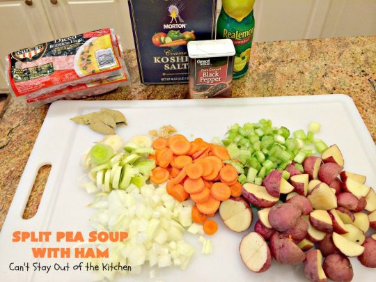 Split Pea Soup with Ham | Can't Stay Out of the Kitchen | I LOVE this #soup. It's always been one of our favorites. It's so flavorful & delicious. #ham #splitpeas #glutenfree