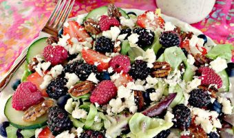 Spring Mix with Berries, Glazed Pecans, and Feta Cheese