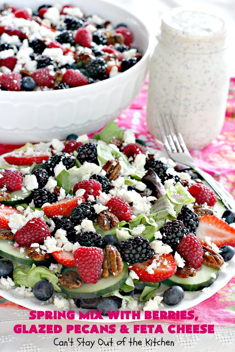 Spring Mix with Berries, Glazed Pecans and Feta Cheese