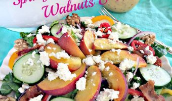 Spring Mix with Peaches, Walnuts and Feta