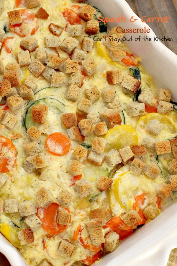 Squash and Carrot Casserole   Can't Stay Out of the Kitchen   this fantastic #squash #casserole is great for the #holidays & always a family favorite. So easy to assemble, too. #carrots #PepperidgeFarmstuffing